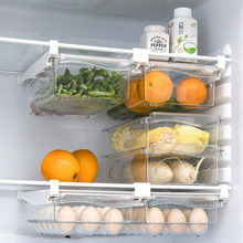Plastic Clear Fridge Organizer Slide Under Shelf Drawer Box Rack Holder Refrigerator Drawer Kitchen Fruit Food Storage Box