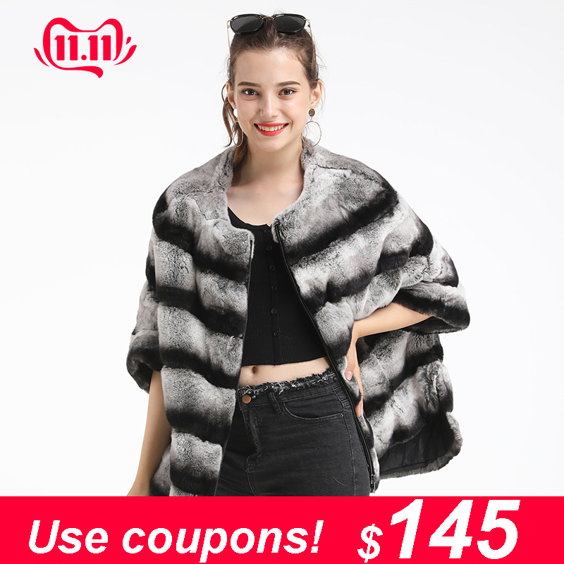 Maylofuer New Bat Sleeves Rex Rabbit Fur Coat With Zipper Real Genuine Fur Jacket Winter Coat Women Manteau Femme Natural Fur
