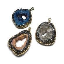 Fashion Pendants Neckalce Men Jewelry Single Hole Natural Gem Stone for Making Supplies Size 20x35mm-25x35mm