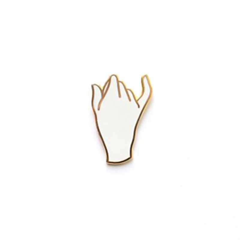 Lucu Tangan Palm Bros untuk Wanita Kemeja Pria Jaket Ransel Lencana Gesper Palm Tangan Enamel Kerah Pin Perhiasan