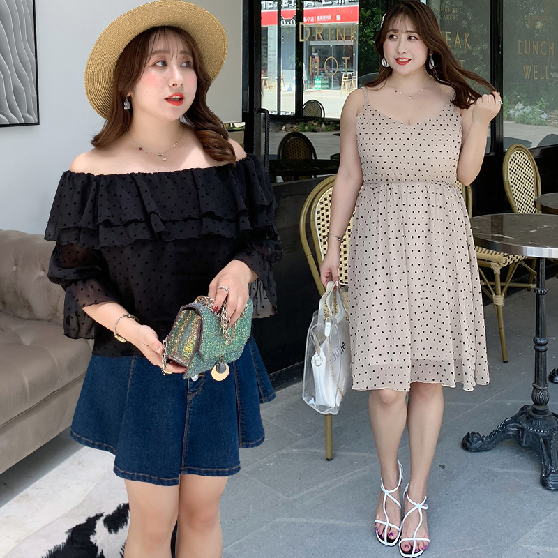 [Shi Ben Rocco] Summer New Products Plus-sized Large Size Dress Fat Mm Polka Dot Best Friend-Strapped Dress 1806