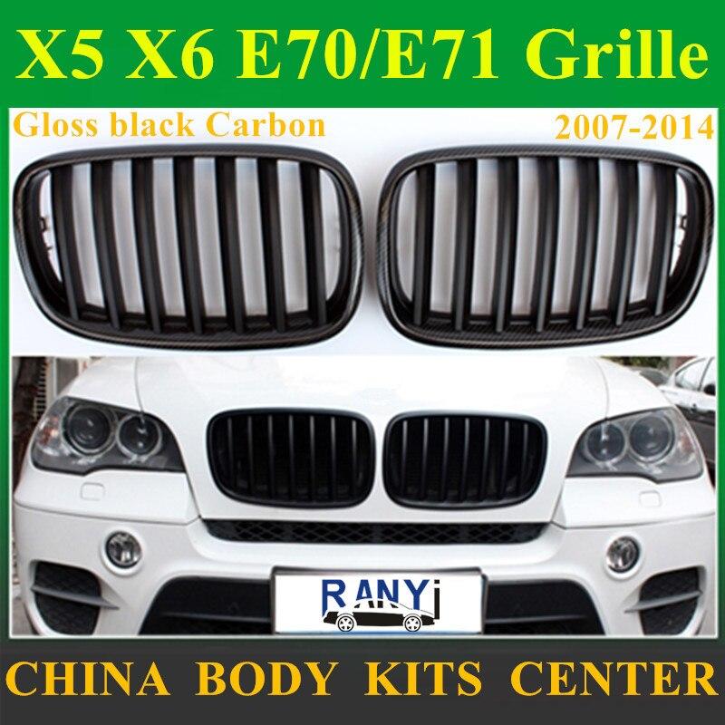 Grille de pare-chocs avant de Style Original en Fiber de carbone pour BMW X5 E70 2007-2013X6 E71 2008-2014 maille de gril de rein pour la série X