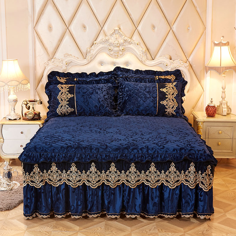 High-grade Bed Skirt Bedding Sets Pillowcases Velvet Thick Warm Lace Bed Sheets 1/3pcs Royal Blue Mattress Cover King Queen Size