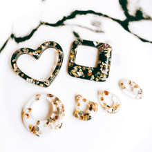 Zeroup acrílico oval forma de gotejamento, de gota preto e branco, acessórios de pingente, colar encantador, localização de joias, material diy, 6 peças