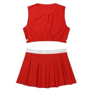 Image 3 - Conjunto de 2 uds. De uniforme de animadora para adultos traje de Cosplay de escenario, Top corto sin mangas con cuello redondo y minifalda plisada