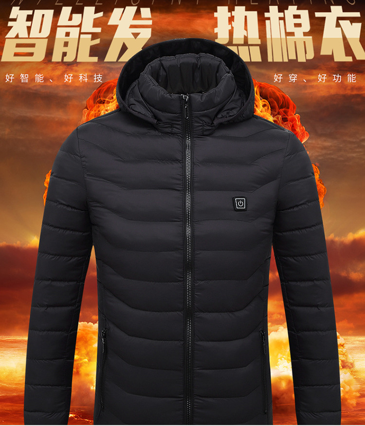 2019 NEW Mens Heated Jackets Outdoor Coat USB Electric Battery Long Sleeves Heating Hooded Jackets Warm Winter Thermal Clothing