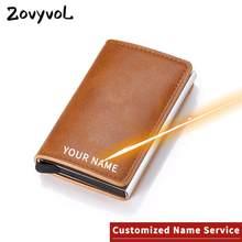Zovyvol laser lettering wallet 2021 nova liga de alumínio rfid anti-roubo couro do plutônio dos homens carteira titular do cartão de banco carteira