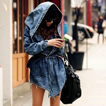 2019 Vintage Women Denim Ripped Jackets Casual Blue Jean Jacket