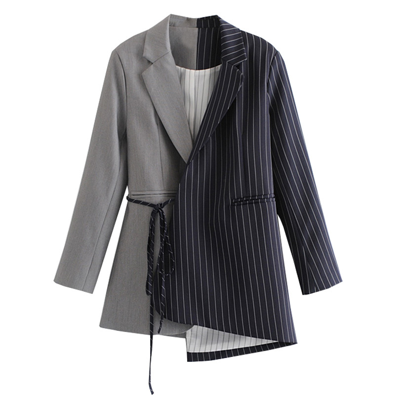[EAM] Loose Fit black striped split joint bandage Jacket New Lapel Long Sleeve Women Coat Fashion Tide Spring Autumn 2020 JZ065 4