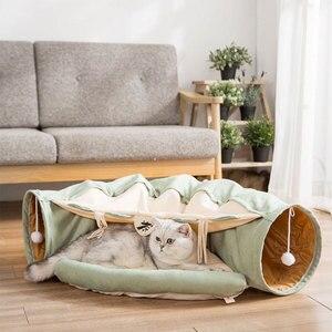 Składany zdejmowany tunel dla kota Tube Pet interaktywna gra zabawki papier dźwiękowy dzwonek dla kota fretki Puppy 5