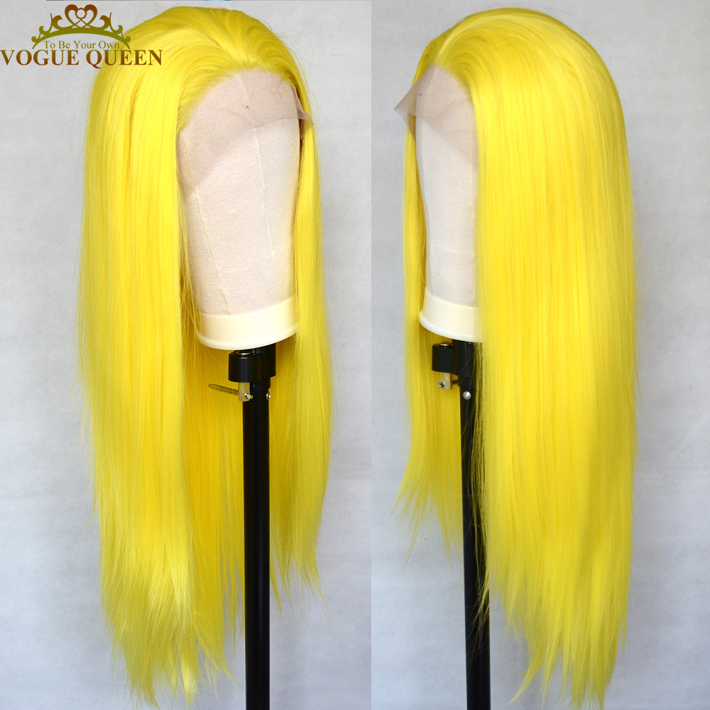 Vogue Queen Long Straight Synthetic Lace Front Wig Sexy Yellow Heat Resistant Fiber Cosplay For Women