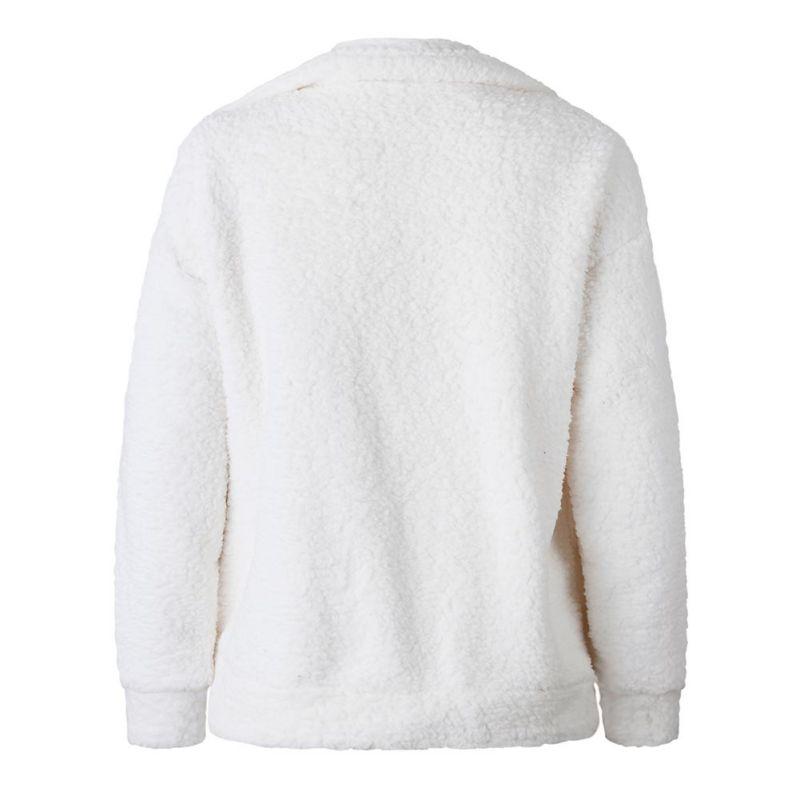 Elegant Faux Fur Coat Women 18 Autumn Winter Warm Soft Zipper Fur Jacket Female Plush Overcoat Pocket Casual Teddy Outwear 35