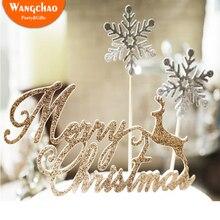10 יח\שקית שמח Chrismas Cupcake Toppers עלה זהב צבי שלג לבן מסיבת חג המולד קישוט עוגת צילינדר עוגת השנה החדשה קישוט