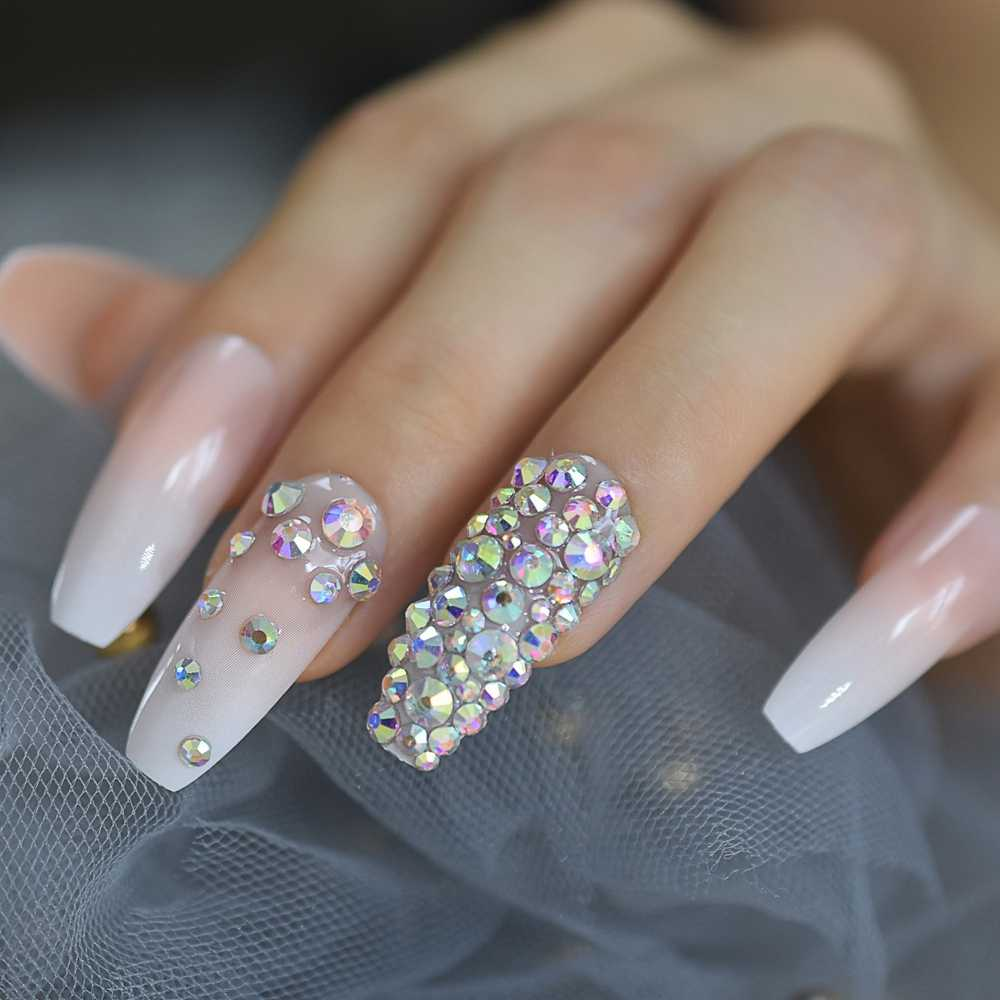 3d Rhinestones Gem Ombre Gradient Pink Nude French Ballerina Press On False Nails Extra Long Natural Coffin Uv Fake Fingers Nail Aliexpress