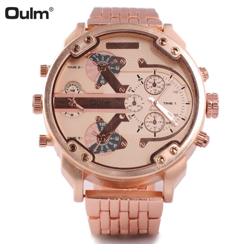 Oulm montres hommes montre à Quartz grand cadran double fuseau horaire mode Sport montres pour hommes relogio masculino reloj hombre