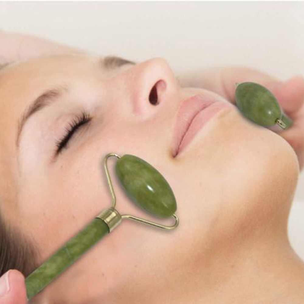 Facial Roller หยกธรรมชาติควอตซ์ Face หินหยก Roller เครื่องมือนวดความงาม Face Lift Massager Dropshipping