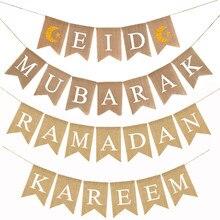 Eid mubarak banner muçulmanos ramadan kareem decorações de linho pendurado bandeiras com cordas islam decoração para casa artigos de festa