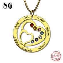 лучшая цена New 925 Sterling Silver Heart Necklace Personalized Custom Names & Birthstones luxury Jewelry Warm Gift For Family