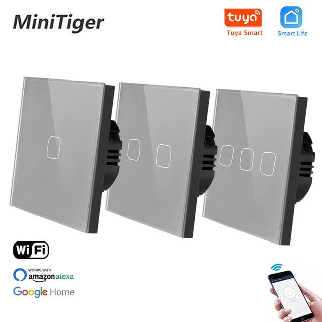 Minitiger EU Standard 1/2/3 Gang Tuya/Smart Life WiFi Wall Light Touch Switch Neutral Wire Wireless Control Touch Light Switch