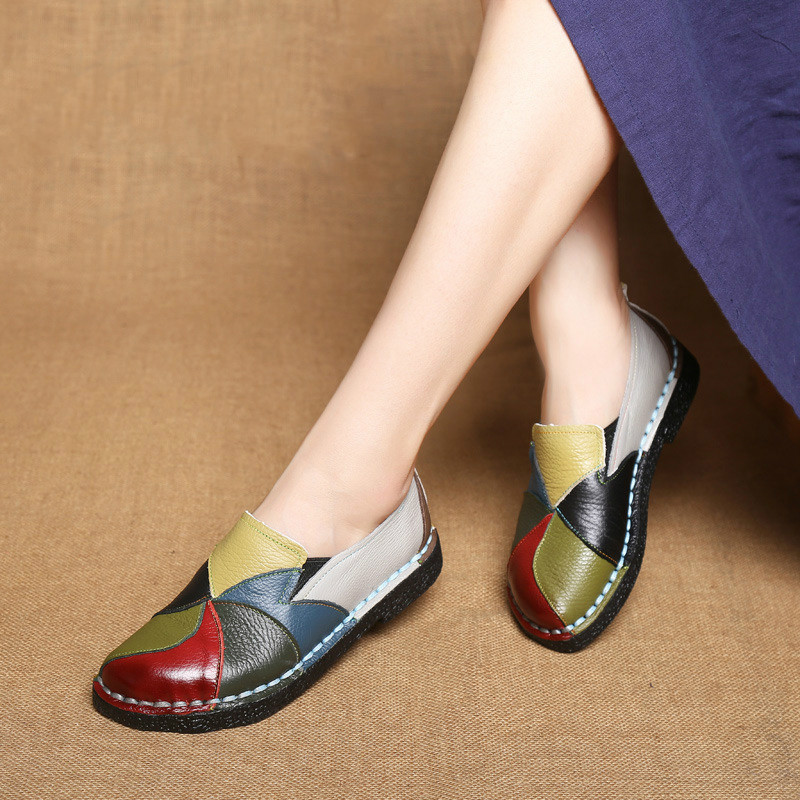ECTIC 2018 Designer Women Genuine Leather Moccasins Ladies Ballet Flats Mixed Colors Slip On Loafers Casual Platform Shoes DC-97