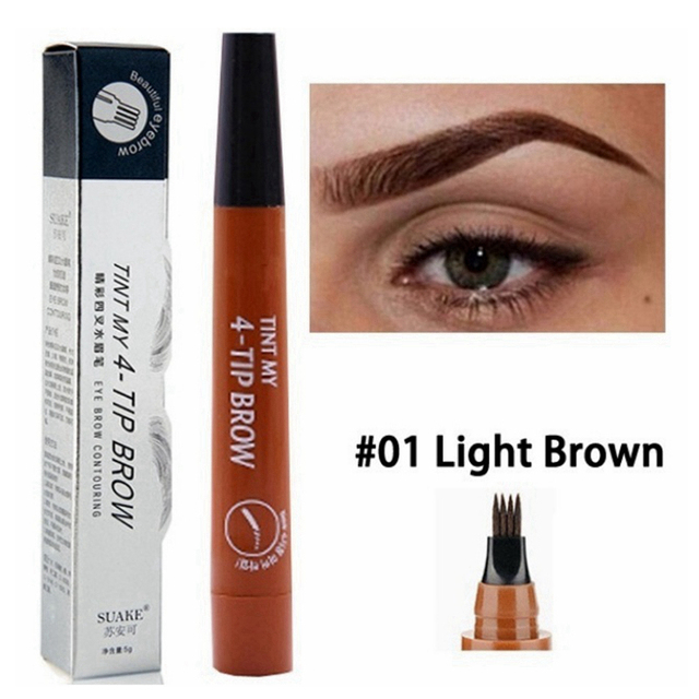 Microblading Eyebrow Tattoo Pen Waterproof 4 Fork Tip Eyebrow Tattoo Pencil Professional Fine Sketch Liquid Eye Brow Pencil Tint 3
