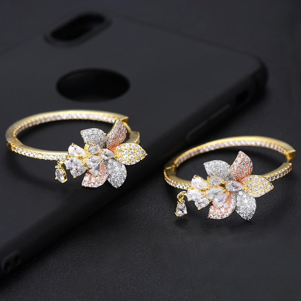 Image 4 - Женские серьги GODKI, большие серьги кольца с кисточками и цветком, 3 тона, с кубическим цирконием, для свадьбы, 2019Серьги-кольца   -