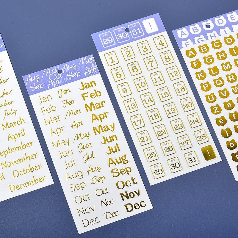 DIY Дневник месяц план наклейки буквы пуля журнал поставок календарь скрапбук алфавит наклейки с бронзированием украшение чашки