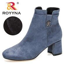 Snow-Boots High-Heels Winter Women Ladies Anti-Slip ROYYNA Plush Zip Side-Zipper New-Style
