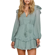 Fashion Dress Women Winter New Rural Style Long Sleeve V-neck Clothes Vestido Elegant Boho 2019