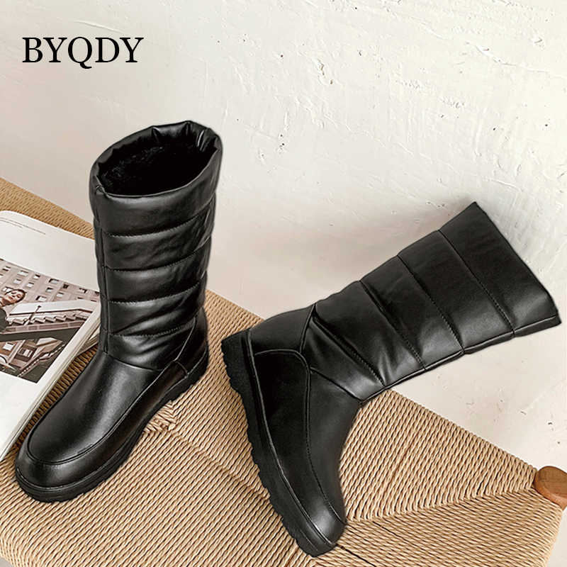 BYQDY Plus Size 50 Vrouw Winter Laarzen Mode Bont Halverwege de Kuit Platform Snowboots Vrouwen Waterdichte Warme Lady Casual schoenen Botas