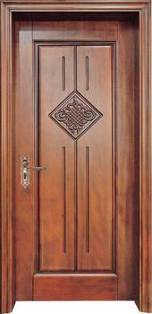 Puertas tradicionales personalizadas puertas de madera maciza de roble puertas interiores contemporáneas de una sola Puerta delantera disponibles D-003