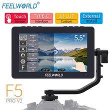FEELWORLD-Monitor de campo F5 Pro V2, HDMI 4K, 5,5 pulgadas, cámara, 3D, LUT, pantalla táctil IPS, FHD, 1920x1080, para cámara dslr