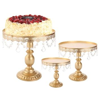 3 Pcs/Set  Gold Cake Stand Metal Iron Crystal Wedding Party Decoration Supplier Baking Cake Accessory Tools