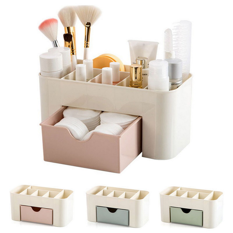 Plastic Makeup Box Organizers High Capacity Jewelry Cosmetic Storage Box With Drawer Acrylic Lipstick Holder Sundries Container