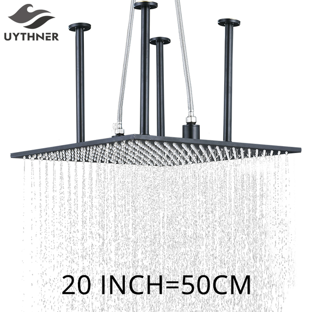 Newly Luxury 20 inch Rain Shower Head Matte Black Big Top Shower Head With Arm Ceiling Mounted Bathroom Shower Accessories