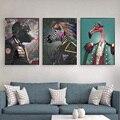 Горилла и фламинго рыцарь Плакаты и принты с забавными животными настенная живопись на холсте Живопись для комнаты Настенные Украшения