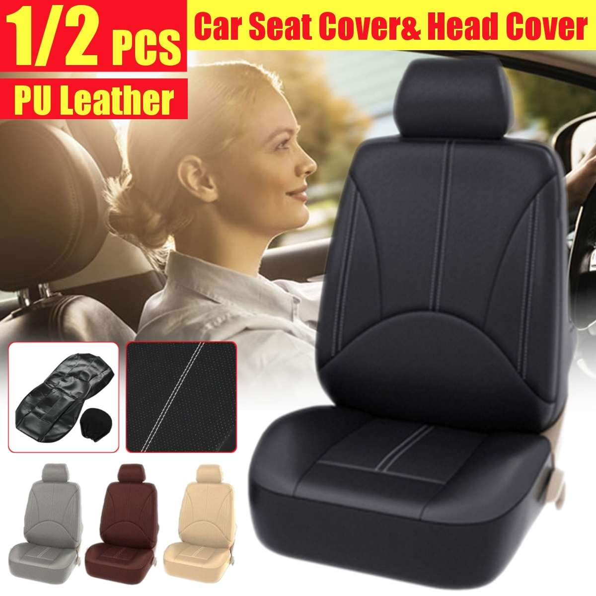 118x56 cm housse de siège en cuir de voiture coussin Protection de siège avant universel 1 siège 1 couvre-tête pour Vw respirant accessoires