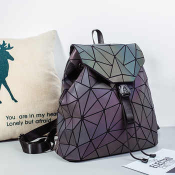 Fashion Luminous Women backpack Drawstring folding backpack Triangle Sequin Backpack for Reflective strip Female student bag
