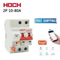HOCH ZJSB9-80Z Tuya WIFI Circuit Breaker Smart Life Timer Remote Control 2P Wireless Switch Factory Free shipping