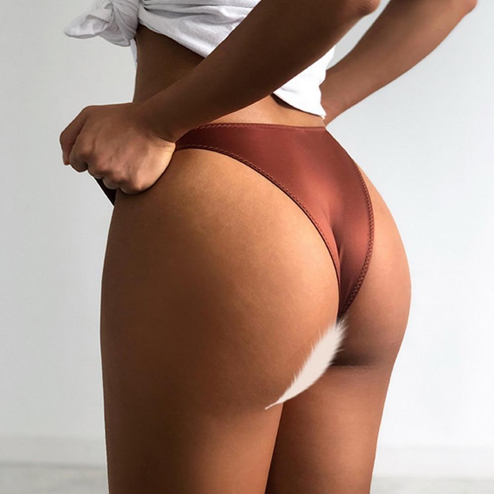 H495bc44641c246bda05c25b6e68393e0o 2021 Letter Rhinestone Sexy Underwear Fitness Sports Hip Lifting Satin Panties Thong Low Waist Seamless Briefs Tanga Lingerie