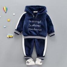Bebek kız erkek giysileri seti yürümeye başlayan çocuklar için rahat spor mektup kapşonlu kadife sonbahar bahar takım elbise giyim 1 2 3 4 yıl