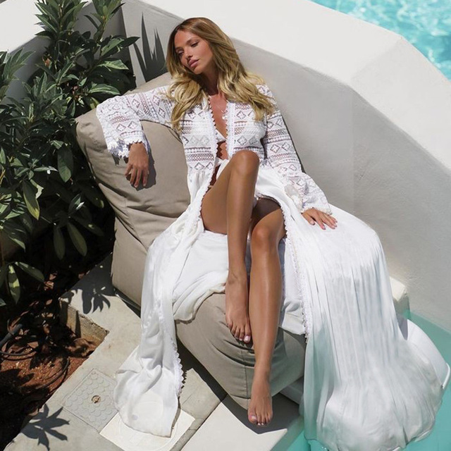 2021 Crochet White Knitted Beach Cover up dress Tunic Long Pareos Bikinis Cover ups Swim Cover up Robe Plage Beachwear 6