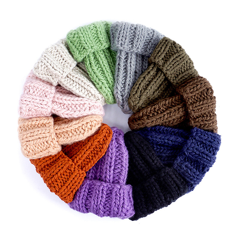 Women Hand Made Knitting Hat High Quality Customizable Logo Winter Warmer Ear Thick Soft Beanie Lady Chunky Knitted Rib Hats 80