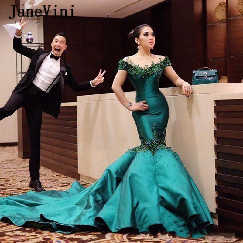 JaneVini Sexy Mermaid Long Evening Dresses 2020 Dark Green Off Shoulder 3D Flowers Beaded Satin Dubai Arabic Evening Party Gowns