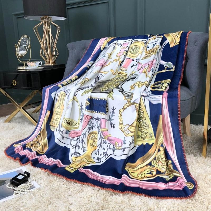 Palace Classic Luxury Blanket Soft Fleece Velvet Sofa Throws Digital Printing Flannel Home Decoration 3 Sizes