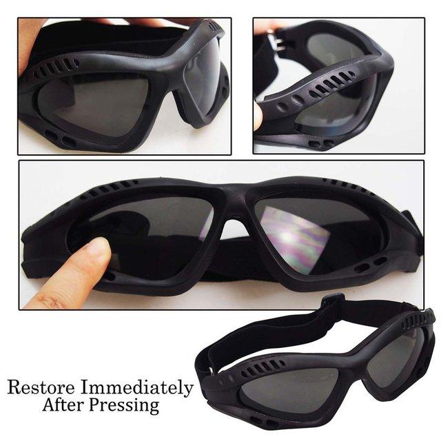 Óculos de proteção da motocicleta ciclismo óculos elásticos cs tactical óculos de segurança à prova de vento anti-poeira esportes ao ar livre 4