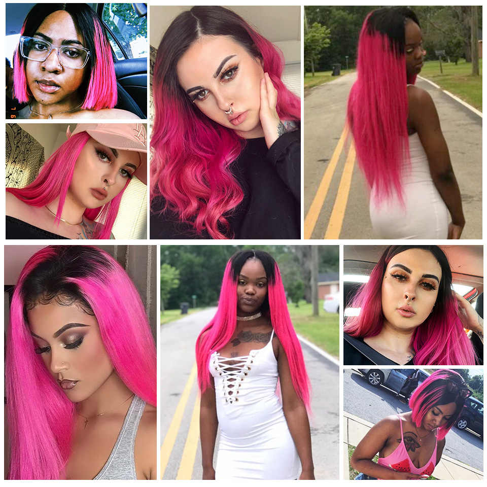 SEXAY Pink Wig Human Hair 4x4 Lace Closure Wigs For Women Malaysian Straight Hair Pre Colored Pink 4*4 150% Ombre Human Hair Wig
