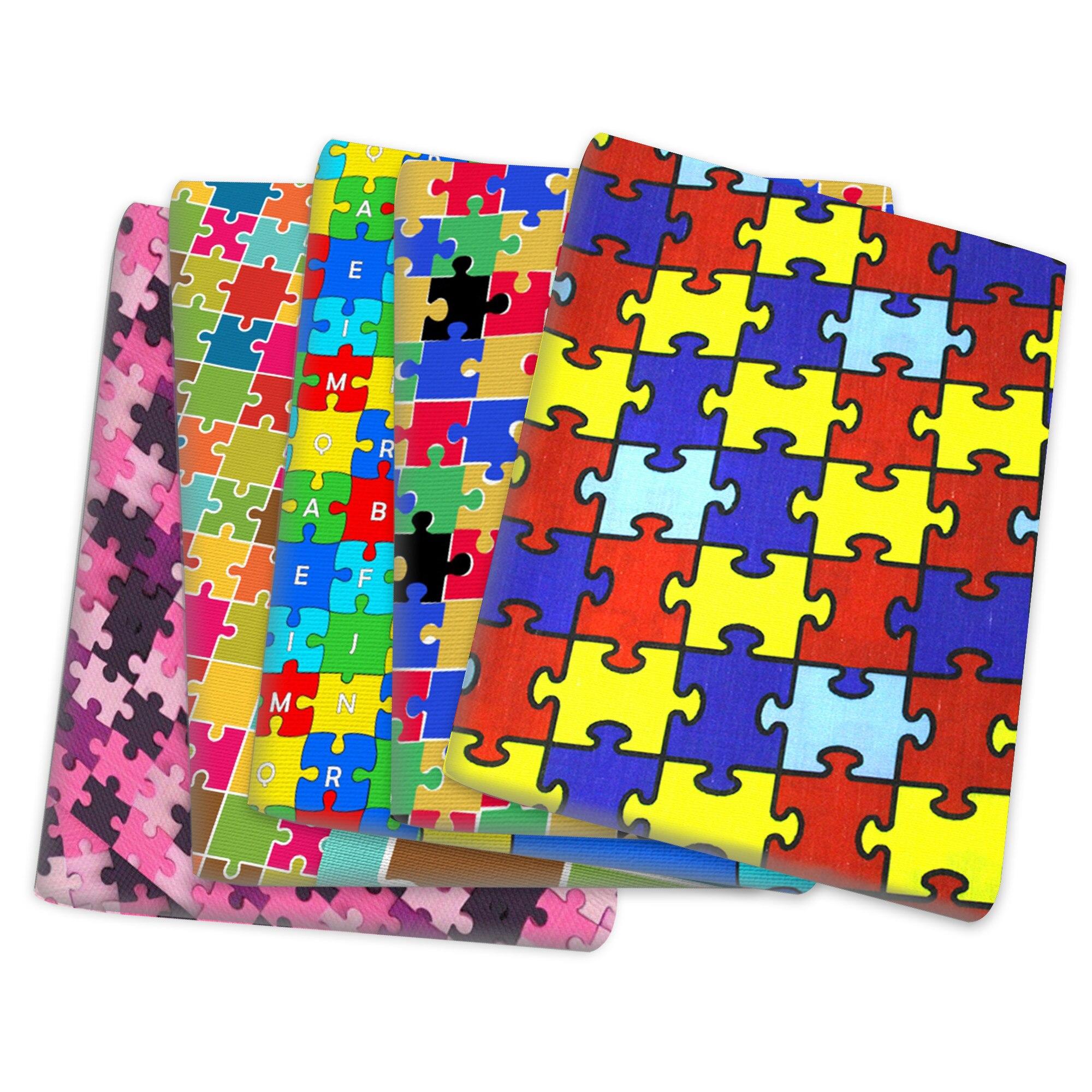 Quebra-cabeça autismo consciência poliéster algodão tecido retalhos costurar estofando bordado material diy feito à mão pano, 1yc14080