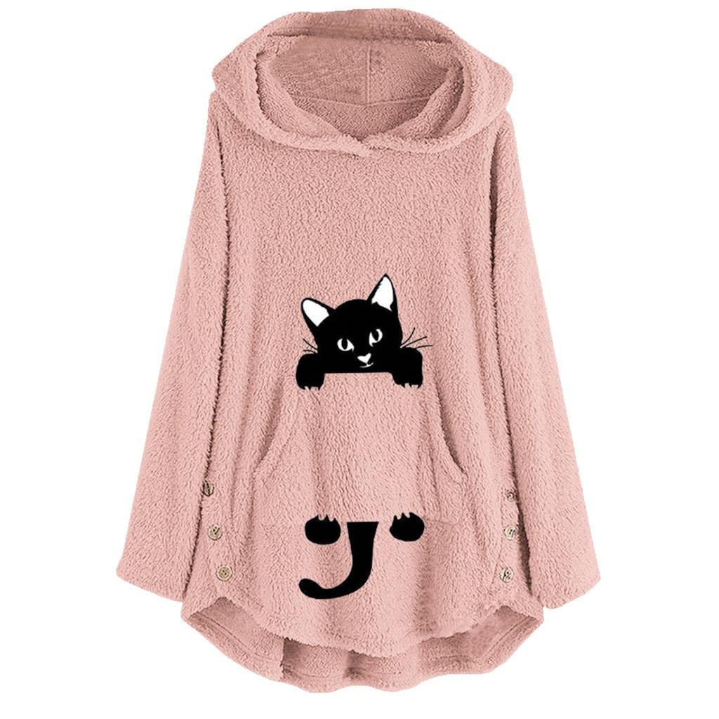 Womens Winter Plush Coat Fleece Cat Embroidery Warm Hoodie Top Plus Size Button Lady Pocket Outwear Long Pullover Womens Warm #B