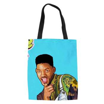 Fresh Prince Canvas Tote Female Single Shopping Bags Large Capacity Women Canvas Beach Bags Print Casual Tote Bag casual women s tote bag with leopard print and canvas design